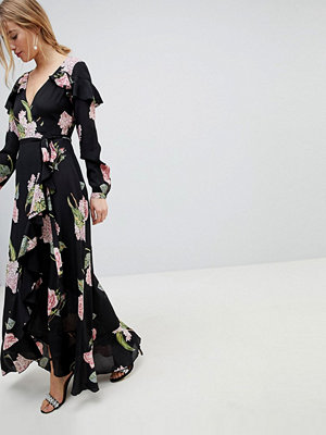 ASOS Pretty Floral Maxi Ruffle Wrap Dress