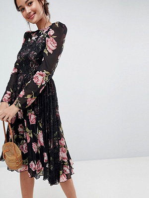 ASOS Floral Insert Midi Dress with Long Sleeves - Dark floral print