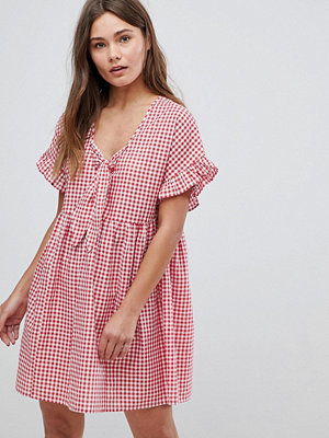 ASOS Casual Mini Smock Dress in Gingham with Bunny Tie
