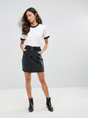Brave Soul Suzy Denim Skirt With Ring Zip Detail