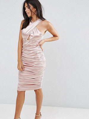 Ax Paris Slinky Pink Ruched Dress With A Cross Over Cut Out Front