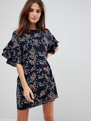 Parisian Floral Shift Dress With Flare Sleeve
