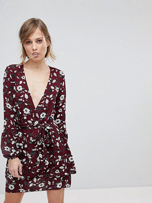 Parisian Floral Wrap Dress With Tie Waist