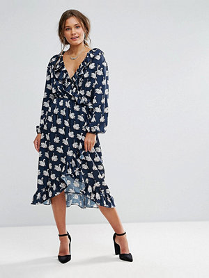 Liquorish Swan Print Wrap Midi Dress with Frills