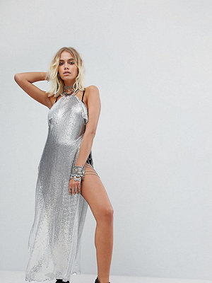 Sacred Hawk Maxi Chainmail Dress With Side Split