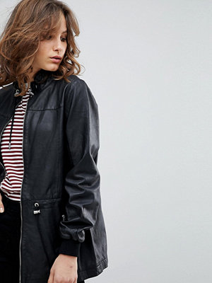 Selected Femme Leather Jacket With Toggles