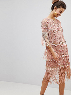 ASOS Edition Loose T-Shirt Dress with Embroidery and Tassels Mini Dress