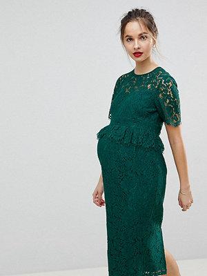 ASOS Maternity Lace Pencil Dress with Frill Pephem