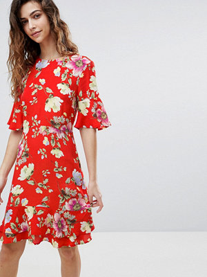 Warehouse Floral Print Frill Hem Skater Dress