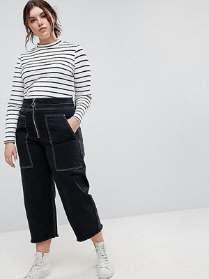 ASOS Curve Wide Leg Utility Jeans With Big Pockets and Contract Stitch