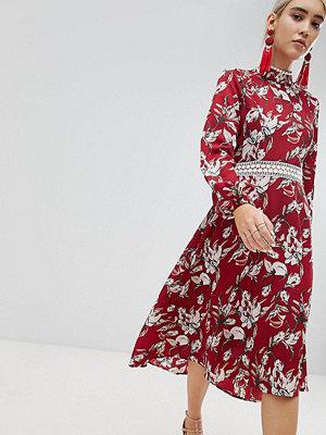 Boohoo Lace Trim Open Back Midi Dress