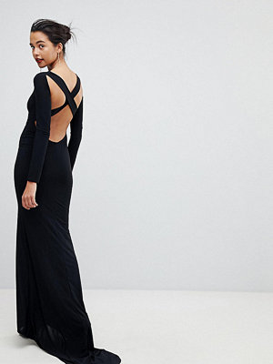 Outrageous Fortune Long Sleeve Cross Back Fishtail Maxi Dress