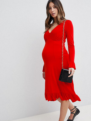 ASOS Maternity Midi Tea Dress With Frill Cuff