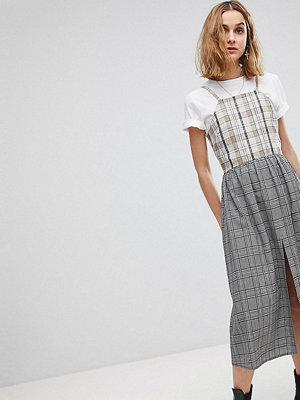 Reclaimed Vintage Inspired Mixed Check Smock Midi Dress