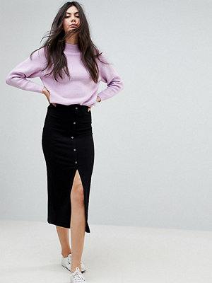 Asos Tall ASOS DESIGN Tall rib popper midi skirt