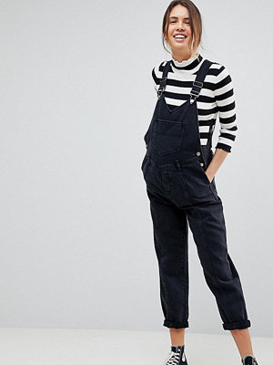 ASOS Maternity ASOS DESIGN Maternity denim dungaree with pleat detail in washed black - Washed black