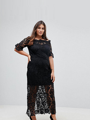 Paper Dolls Plus Off Shoulder Crochet Maxi Dress With Frill Sleeve