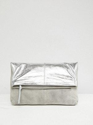 ASOS kuvertväska Leather And Suede Foldover Clutch Bag