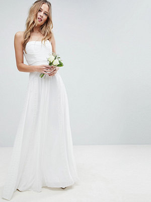 ASOS Edition Wedding Pleated Maxi Dress with Lace Panels