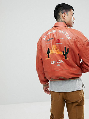 Skinnjackor - ASOS Oversized Varsity Jacket With Embroidery In Red