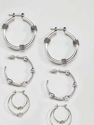ASOS örhängen Pack of 3 Wrapped Rope and Ball Hoop Earrings