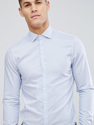 Michael Kors Slim Smart Shirt In Blue Stripe