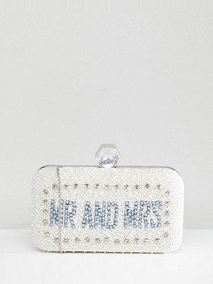 Amelia Rose kuvertväska Embellished Box Clutch Bag With Mr & Mrs Motif