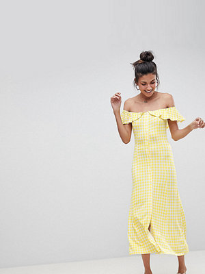 Asos Tall Off Shoulder Button Through Midi Sundress in Gingham