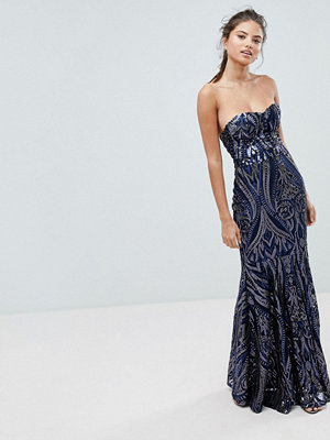 Club L Embellished Sequin Strapless Fishtail Maxi Dress