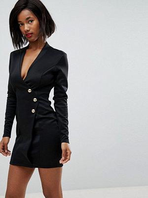 Club L Scuba Blazer Wrap Dress with Long Zip Detail at back
