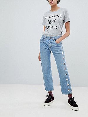 Iceberg Korta jeans med raka ben och öljetter Mellanblå färg