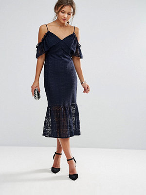 Liquorish Cold Shoulder Lace Midi Dress