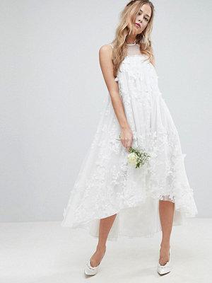 ASOS Edition 3D Flower Midi Trapeze Wedding Dress