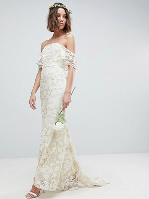 ASOS Edition Bandeau Wedding Maxi Dress in Floral Lace - Ivory