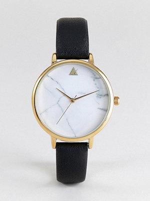Klockor - ASOS Marble Face Black Strap Watch