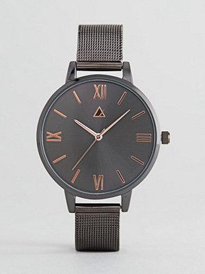 Klockor - ASOS Gunmetal and Rose Gold Mesh Watch