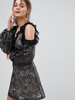 Dolly & Delicious Allover Embroidered Cold Shoulder Skater Dress With Bell Sleeve - Black multi
