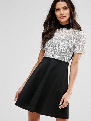 Club L Monochrome Skater Dress With Lace Panel - Black/white