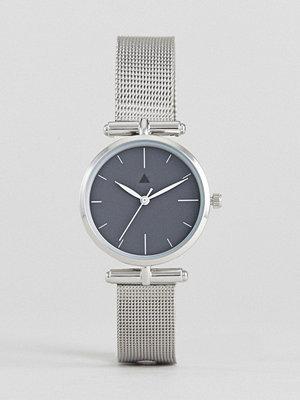 Klockor - ASOS Premium Dark Grey Shoulder Detail Mesh Watch