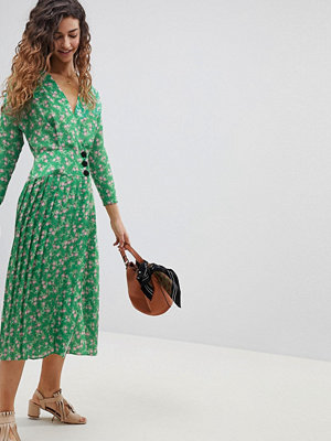 ASOS Pleated Maxi Dress with Side Buttons in Floral