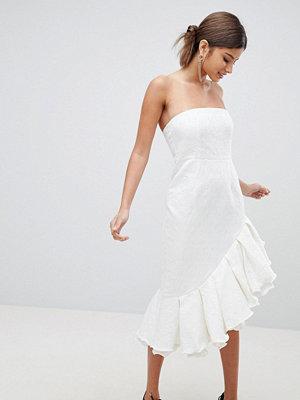 PrettyLittleThing Premium Bandeau Frill Midi Dress
