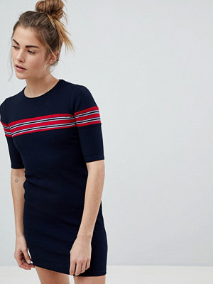 Pull&Bear Ribbed Stripe Detail Jersey Dress