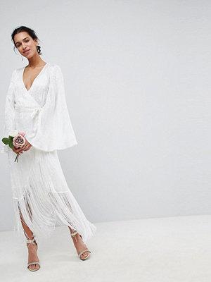 ASOS Edition Fringe Wrap Wedding Maxi Dress