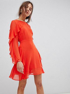 Glamorous Frill Dress - Bright orange