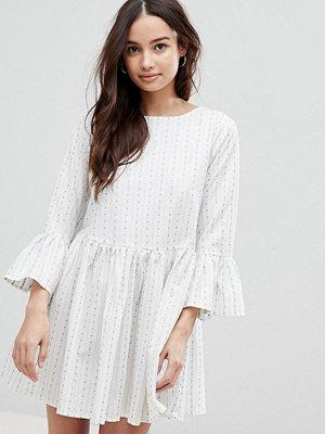 Glamorous Stripe Dress With Flare Sleeves - White pattern stripe