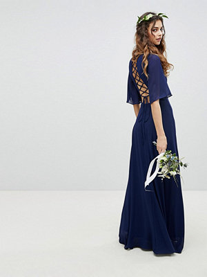 TFNC Lace Up Back Maxi Bridesmaid Dress With Flutter Sleeve