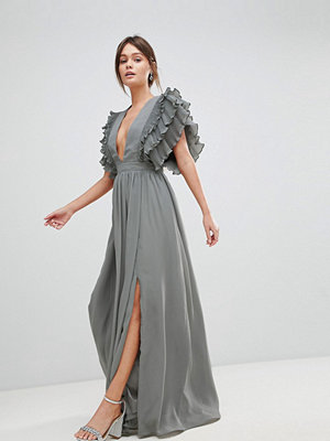 True Decadence Premium Plunge Front Maxi Dress With Shoulder Detail