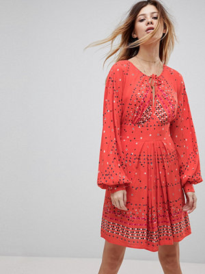 Free People Coryn Printed Skater Dress - Red combo