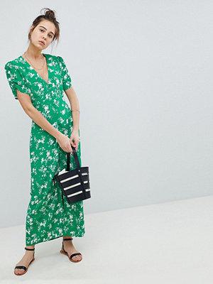 ASOS DESIGN button through maxi tea dress in floral