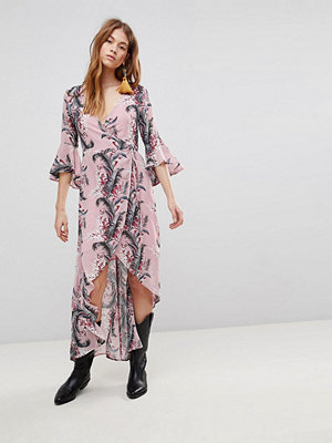 Glamorous Wrap Dress With Front Split In Palm Floral - Pink palm floral